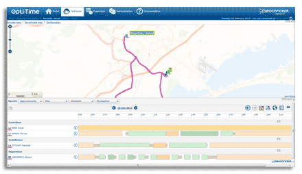 Gantt Planning and map interface